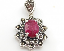 RUBY NATURAL STONE WITH 925 SILVER PENDANT D#4