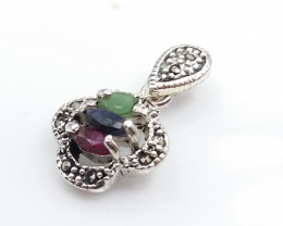 RUBY EMERALD SAPPHIRE MIXED 925 SILVER PENDANT D#5