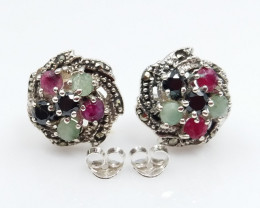RUBY EMERALD SAPPHIRE MIXED 925 SILVER EARRING D#10