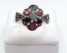 RUBY EMERALD SAPPHIRE MIXED 925 SILVER RING D#12