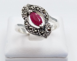 RUBY NATURAL STONE WITH 925 SILVER RING D#13