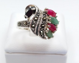 RUBY EMERALD SAPPHIRE MIXED 925 SILVER RING D#15