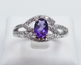 AMETHYST NATURAL STONE WITH 925 SILVER RING D#20