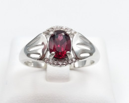 GARNET NATURAL STONE WITH 925 SILVER RING D#23
