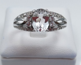 WITHE TOPAZ NATURAL STONE WITH 925 SILVER RING D#25