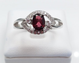 GRANATE NATURAL STONE WITH 925 SILVER RING D#26