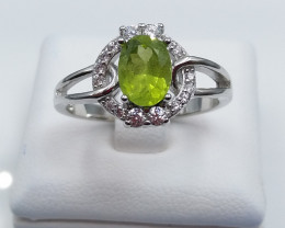 PERIDOT NATURAL STONE WITH 925 SILVER RING D#28