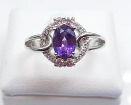 AMETHYST NATURAL STONE WITH 925 SILVER RING D#30