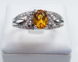 CITRIN NATURAL STONE WITH 925 SILVER RING D#33