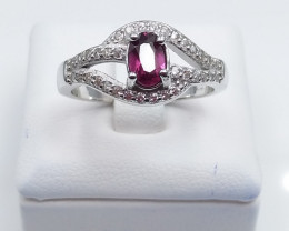 GARNET NATURAL STONE WITH 925 SILVER RING D#39