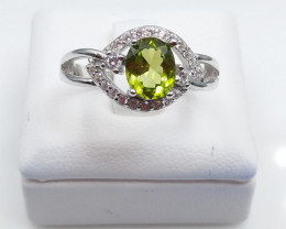 PERIDOT NATURAL STONE WITH 925 SILVER RING D#40