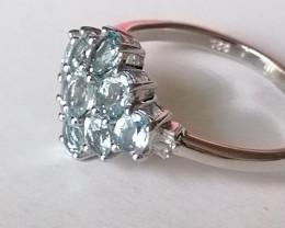 Natural Aquamarine And Diamond Ring 1.52 TCW