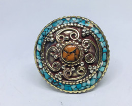 110.30 Crt Turquoise & Coral Nepali Ring