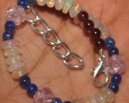34 Crts Natural Opal, Garnet ,Rose Quartz & Lapis Beads Bracelet 621