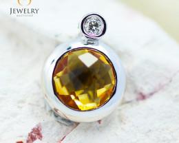 10K White Gold Citrine & Diamond Pendant - 31 - E P10278 1900