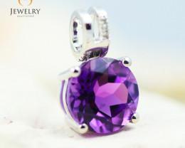 10K White Gold Amethyst & Diamond Pendant - 34 - E P10209 1800