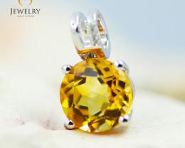 10K White Gold Citrine & Diamond Pendant - 36 - E P10209 1600
