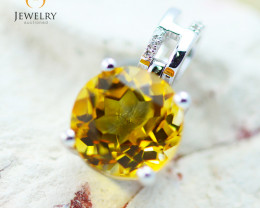 10K White Gold Citrine & Diamond Pendant - 36 - E P10209 1600