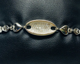 38.46 Crt 925 Silver Rhodium Plated Bracelet