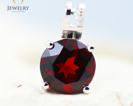 10K White Gold Garnet & Diamond Pendant - 37 - E P10209 1900