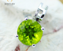 10K White Gold Peridot & Diamond Pendant - 38 - E P10209 2650