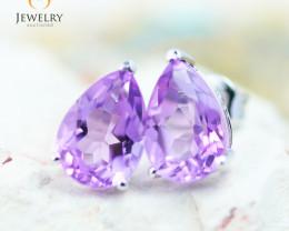 10K White Gold Amethyst Earrings - 39 - E 735B 1800