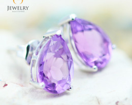 10K White Gold Amethyst Earrings - 39 - E 735B 1800