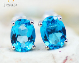 14K White Gold Blue Topaz Earrings - 81 - E E9659 1750