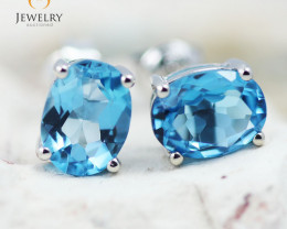 14K White Gold Blue Topaz Earrings - 81 - E E9659 1750