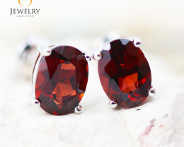 14K White Gold Garnet Earrings - 83 - E E9659 1750