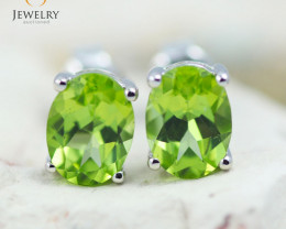 14K White Gold Peridot Earrings - 84 - E E9659 1950