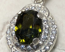 Natural Green Sphene 925 Silver Necklace With Chain