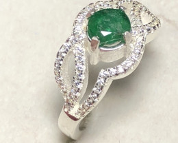 Natural Emerald 925 Silver Ring