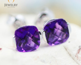 14K White Gold Amethyst Earrings - 85 - E E2420 1350