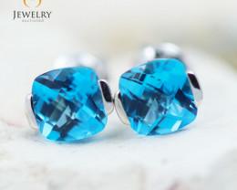 14K White Gold Blue Topaz Earrings - 86 - E E2420 1400