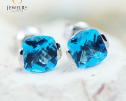 14K White Gold Blue Topaz Earrings - 86 - E E2420 1400