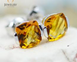 14K White Gold Citrine Earrings - 87 - E E2420 1300