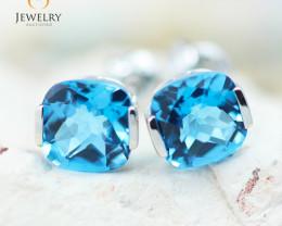 14K White Gold Blue Topaz Earrings - 91 - E E2420 1950