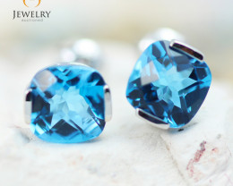 14K White Gold Blue Topaz Earrings - 91 - E E2420 1950