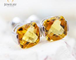 14K White Gold Citrine Earrings - 92 - E E2420 1750