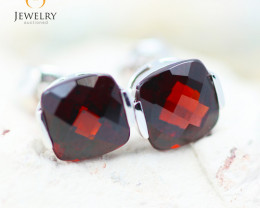 14K White Gold Garnet Earrings - 93 - E E2420 1850