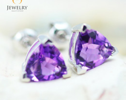 14K White Gold Amethyst Earrings - 95 - E E3488 1750