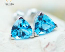 14K White Gold Blue Topaz Earrings - 96 - E E3488 1850