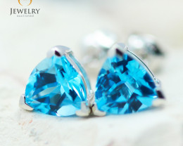 14K White Gold Blue Topaz Earrings - 96 - E E3488 1850