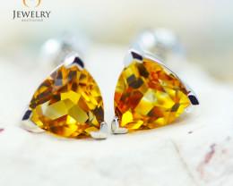 14K White Gold Citrine Earrings - 97 - E E3488 1700