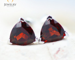 14K White Gold Garnet Earrings - 98 - E E3488 1750