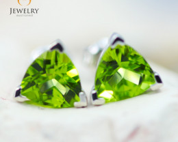 14K White Gold Peridot Earrings - 99 - E E3488 2050