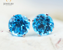 14K White Gold Blue Topaz Earrings - 101 - E E4046 1600
