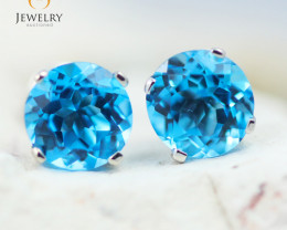 14K White Gold Blue Topaz Earrings - 101 - E E4046 1600