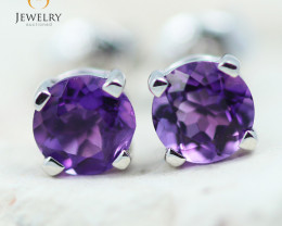 14K White Gold Amethyst Earrings - 105 - E E4046 1150